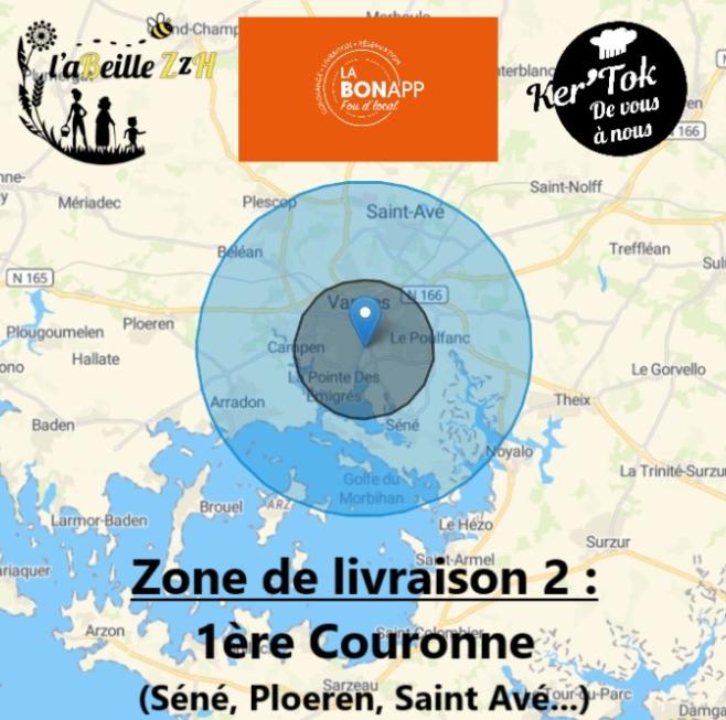 Zone de Livraison 1 restaurant Le coq à l'âne, LaBonApp Vannes