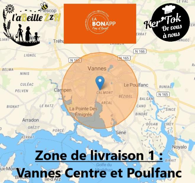 Zone de Livraison 1 restaurant La Nonna Lilia, LaBonApp Vannes