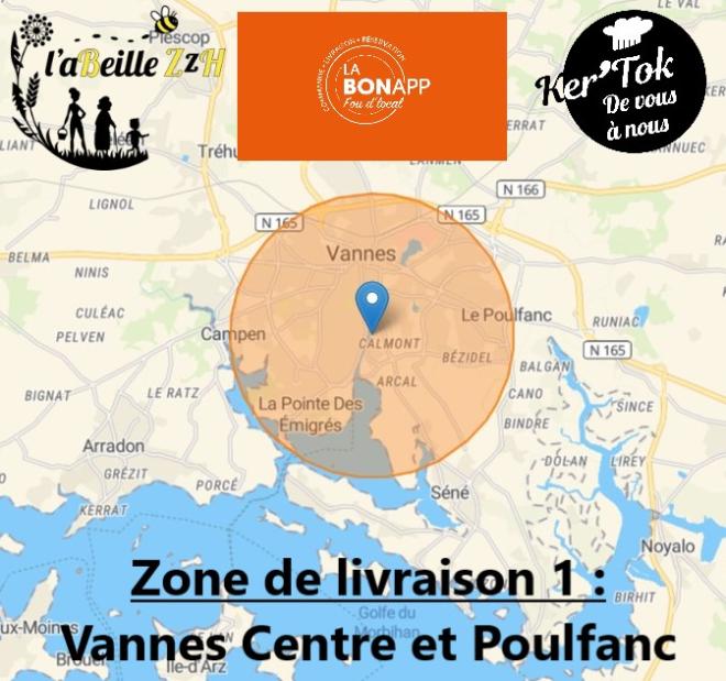 Zone de Livraison 1 restaurant Comme à la maison, LaBonApp Vannes