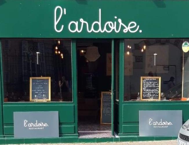 Vitrine restaurant L'ardoise, cuisine du marché bio local sur Labonapp Vannes