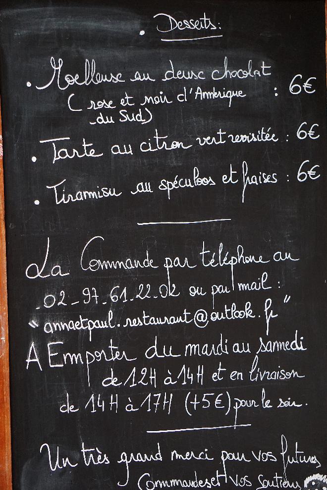 Menu Anna et Paul Vannes restaurant solidaire Labonapp